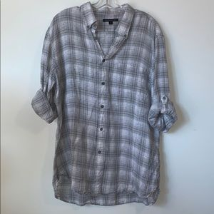 💐3/$50 JOHN VARVATOS Light Grey Check Shirt
